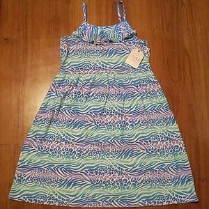 Girls blue neck ruffle dress size LARGE (10-12)